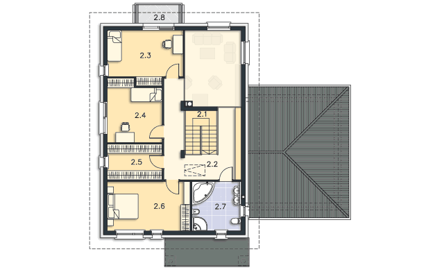 Rzut kondygnacji Piętro - projekt Arbon