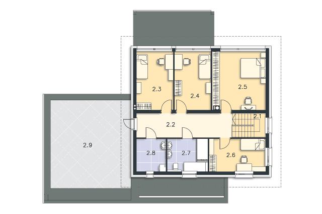 Zobacz powiększenie rzutu kondygnacji Piętro - projekt Carrara III