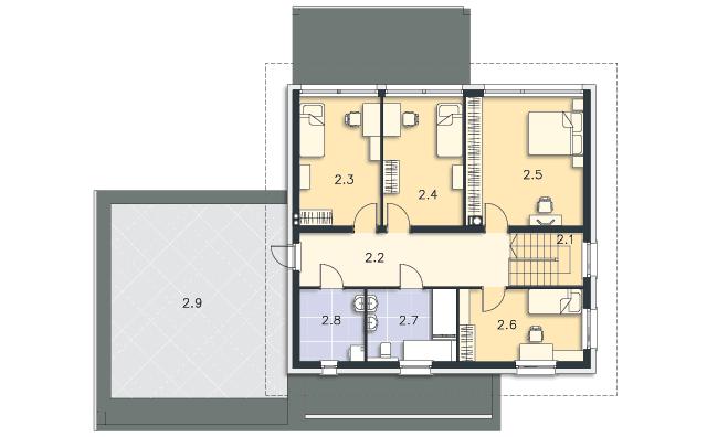 Rzut kondygnacji Piętro - projekt Carrara III