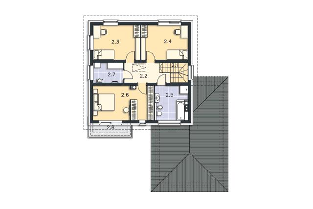 Zobacz powiększenie rzutu kondygnacji Piętro - projekt Przychylny