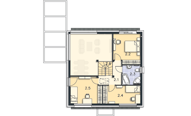 Rzut kondygnacji Piętro - projekt Koge II