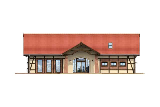 Zobacz powiększenie elewacji frontowej - projekt Budynek usługowy Orzeł