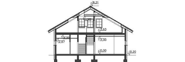 Przekrój - projekt Budynek usługowy Orzeł