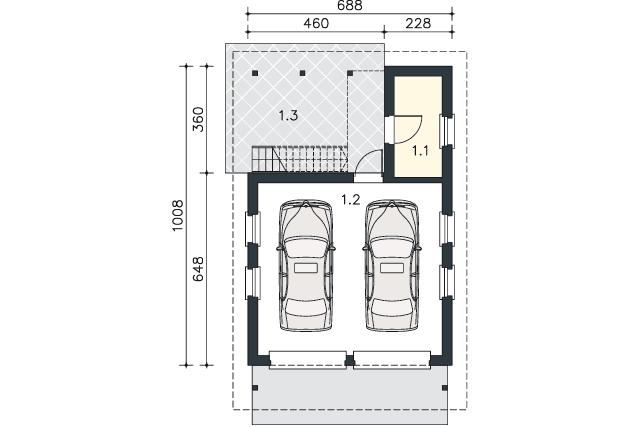 Rzut kondygnacji Parter - projekt Garaż