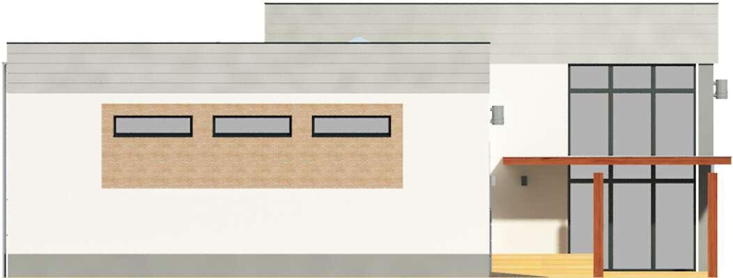 Elewacja boczna lewa - projekt Budynek usługowy