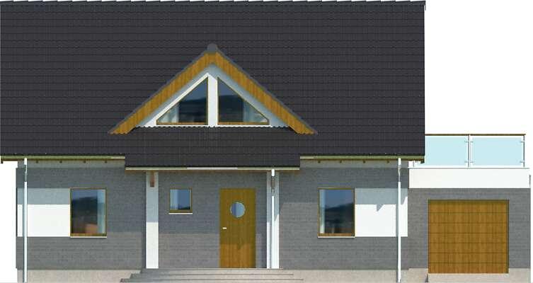 Elewacja frontowa - projekt Lipińscy Dom Pasywny 1