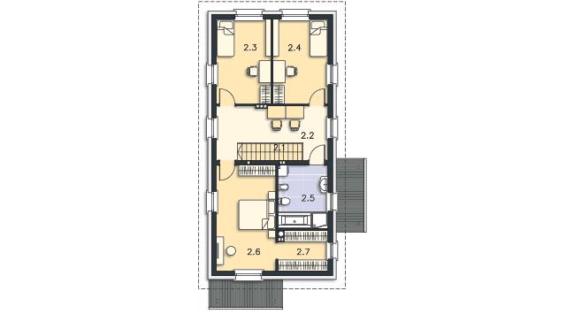 Rzut kondygnacji Piętro - projekt Brunico