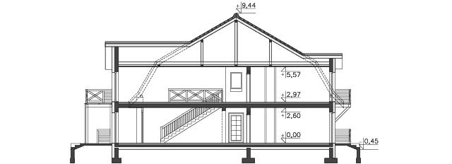 Przekrój - projekt Budynek agroturystyczny Ambrowiec