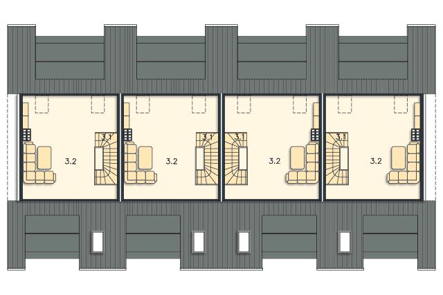 Zobacz powiększenie rzutu kondygnacji Poddasze (mieszkanie 2) - projekt Belize