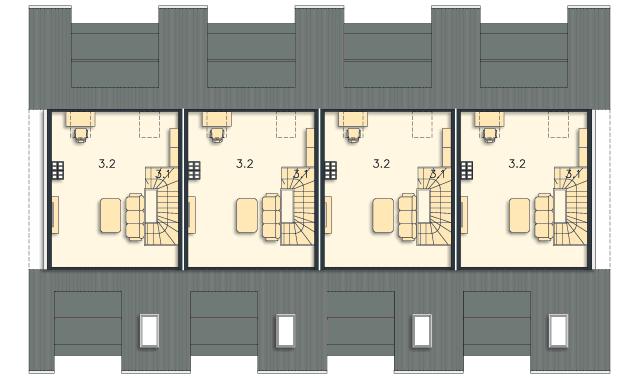 Rzut kondygnacji Poddasze (mieszkanie 2) - projekt Bendigo